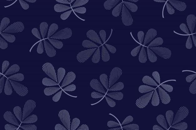 Nahtloses muster des kunstblumenvektors. blau geriffelte blätter an zweigen auf dunkelblau Premium Vektoren