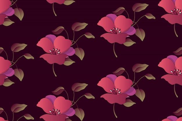Nahtloses muster des kunstblumenvektors. glättung von purpurroten blumen mit laub auf tiefbraunem papier. Premium Vektoren