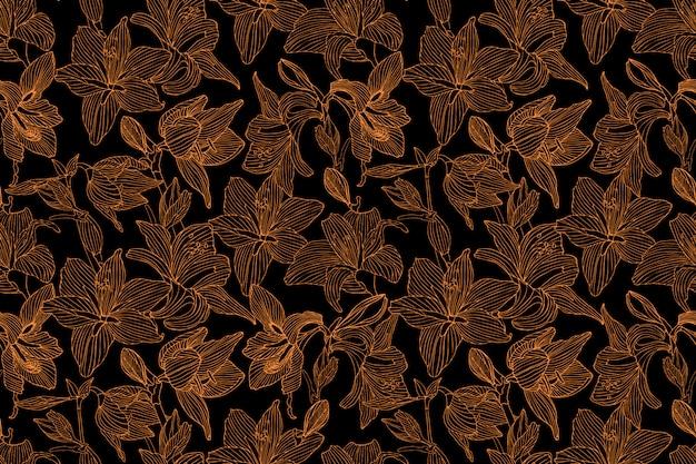 Nahtloses muster des kunstblumenvektors. goldene hippeastrum- und lilienblumen auf schwarzem Premium Vektoren