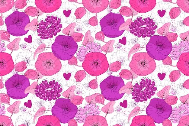 Nahtloses muster des kunstblumenvektors. rosa und lila blüten mit kleinen lila herzen Premium Vektoren