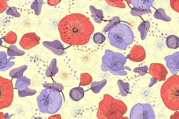 Nahtloses muster des kunstblumenvektors. rote und purpurrote malve und mohnblume Premium Vektoren