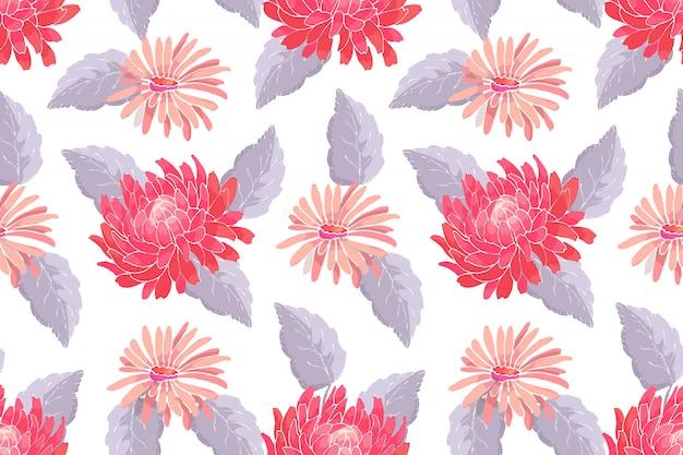 Nahtloses muster des kunstblumenvektors. rote und rosa astern und chrysanthemen mit grauen blättern auf weiß Premium Vektoren