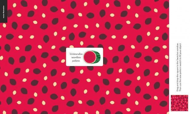 Nahtloses muster des lebensmittels, frucht, wassermelone Premium Vektoren