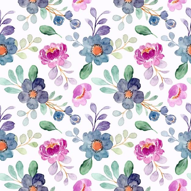 Nahtloses muster des lila blauen blumenaquarells Premium Vektoren