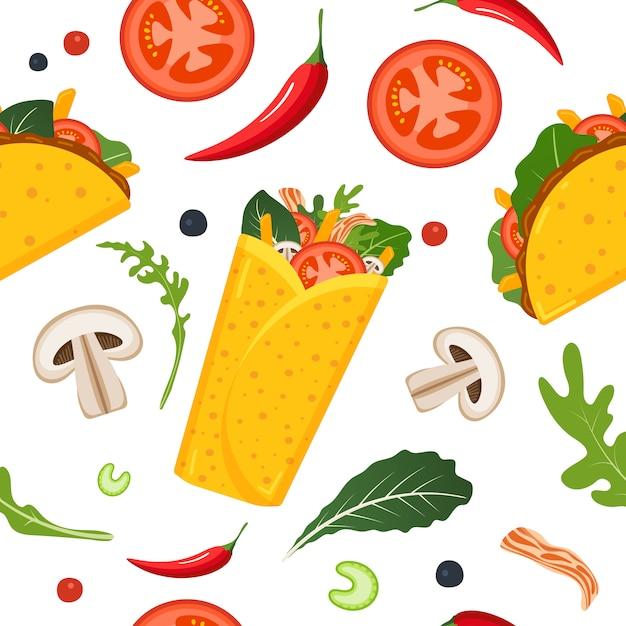 Nahtloses muster des mexikanischen essens. Premium Vektoren