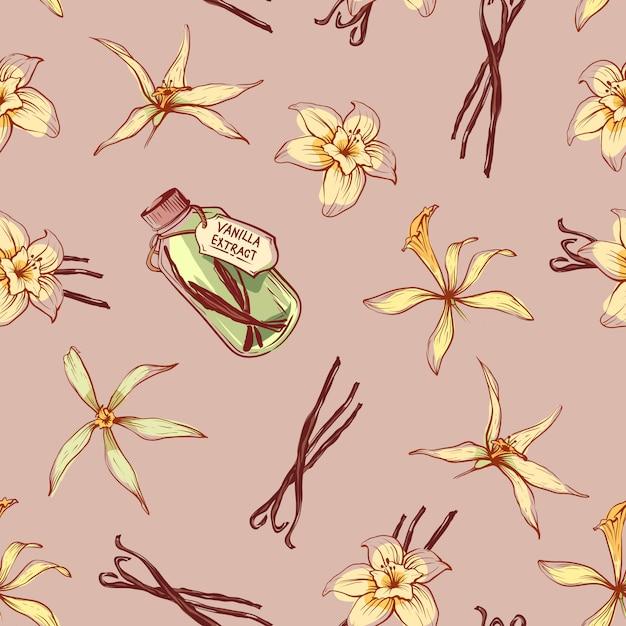 Nahtloses muster des natürlichen vanillegewürzs Premium Vektoren
