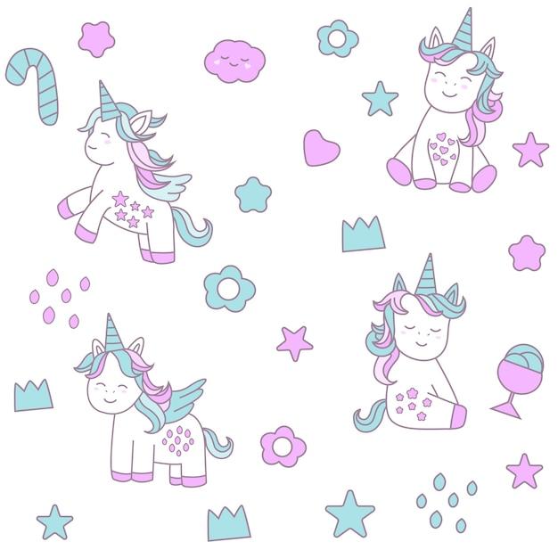 Nahtloses muster des netten baby unicorns Premium Vektoren