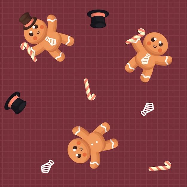 Nahtloses muster des netten ginger bread mit winter und dekoration Premium Vektoren