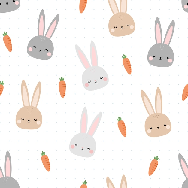 Nahtloses muster des netten kaninchenhäschenkopfkarikatur-gekritzels Premium Vektoren