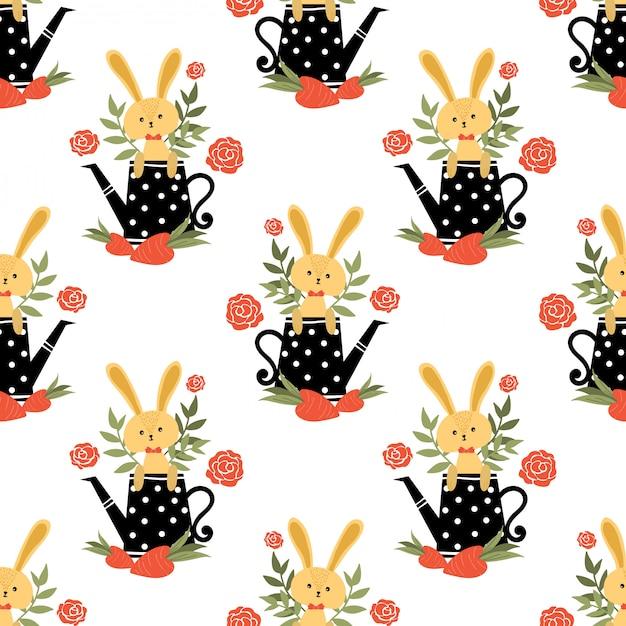 Nahtloses muster des netten kaninchens. Premium Vektoren