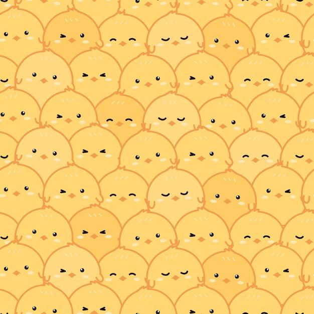 Nahtloses muster des netten kleinen gelben hühnerkarikatur-gekritzels Premium Vektoren