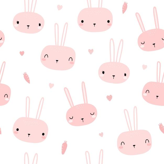 Nahtloses muster des netten rosa kaninchenhäschenkopfkarikatur-gekritzels Premium Vektoren