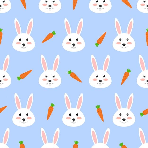 Nahtloses muster des netten weißen kaninchens mit karotte Premium Vektoren