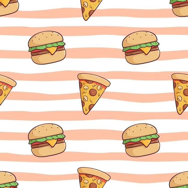 Nahtloses muster des niedlichen burger- und pizzastücks mit gekritzelart Premium Vektoren