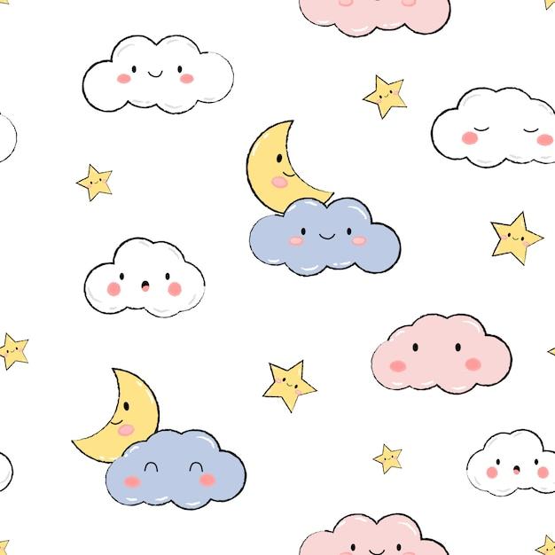 Nahtloses muster des niedlichen himmelsternwolkenpastellkarikatur-gekritzels Premium Vektoren