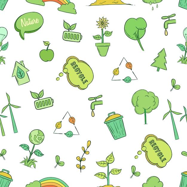 Nahtloses muster des ökologie- und umweltkonzeptes mit gekritzelart Premium Vektoren