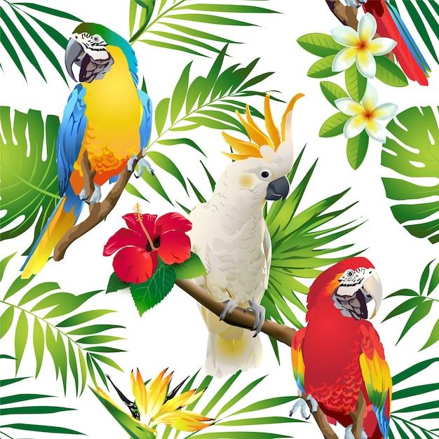 Nahtloses muster des papageienkakadus auf den tropischen niederlassungen mit blättern und blumen auf d Premium Vektoren