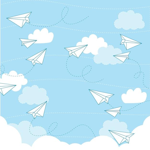 Nahtloses muster des papierflugzeug-vektors Premium Vektoren