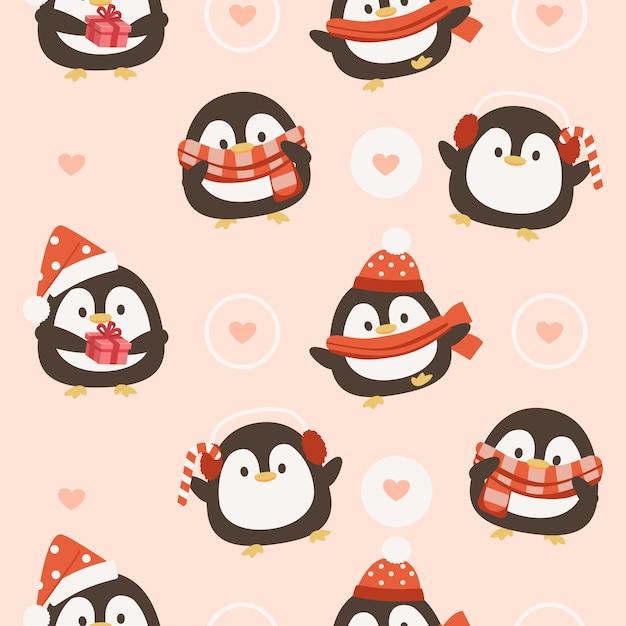 Nahtloses muster des pinguins mit herzen Premium Vektoren