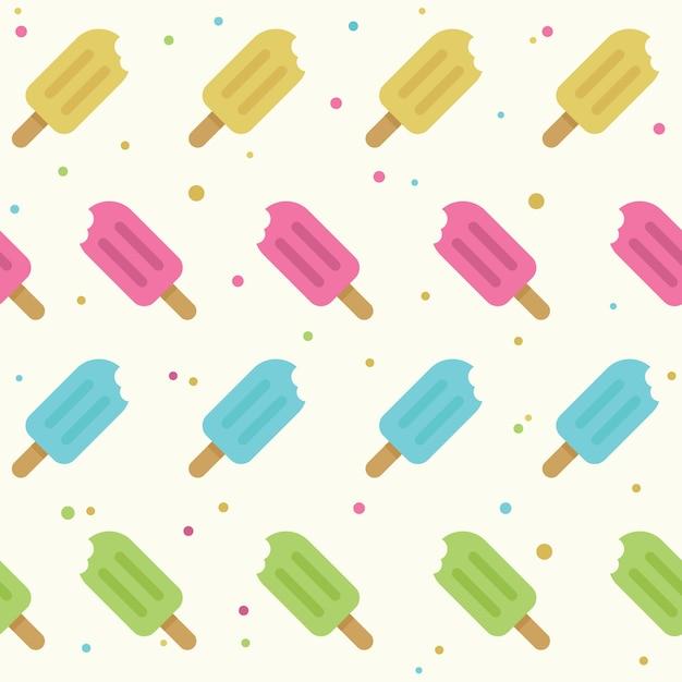 Nahtloses muster des popsicles in der flachen art Premium Vektoren