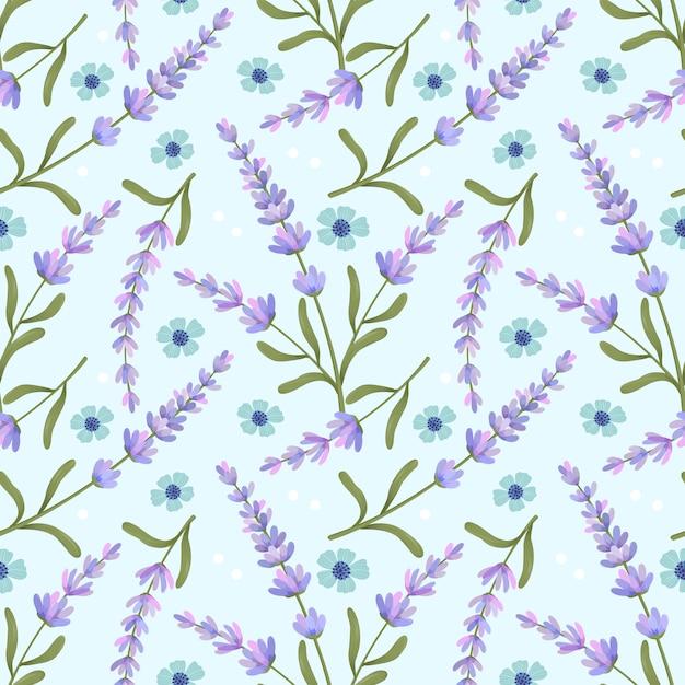 Nahtloses muster des purpurroten blume lavendels auf blau Premium Vektoren
