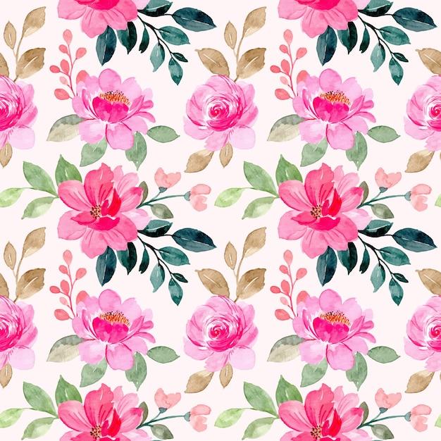 Nahtloses muster des rosa blumenaquarells Premium Vektoren
