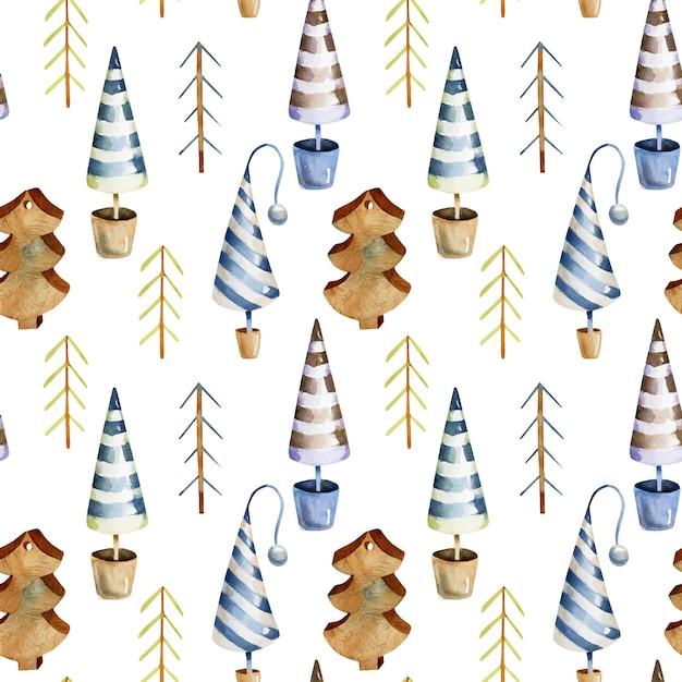 Nahtloses muster des skandinavischen weihnachtsbaumes des aquarells Premium Vektoren