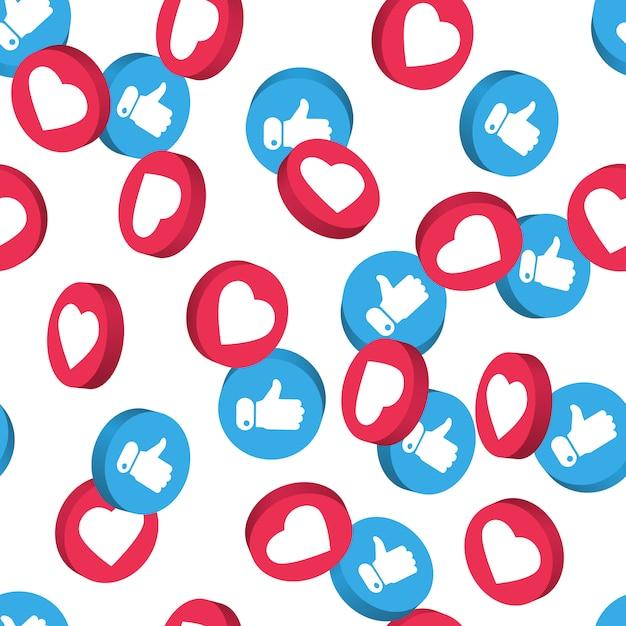 Nahtloses muster des symbols des sozialen netzes. Premium Vektoren