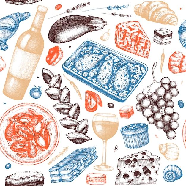 Nahtloses muster des traditionellen französischen essens. mit handgezeichnetem wein, fleischgerichten, desserts und snacks. weinlesehintergrund des französischen essensrestaurants. Premium Vektoren