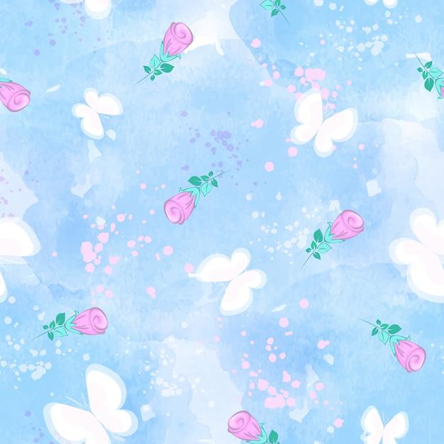 Nahtloses muster des vektors mit weißen schmetterlingen und rosenknospen auf einem blauen aquarellhintergrund. Premium Vektoren