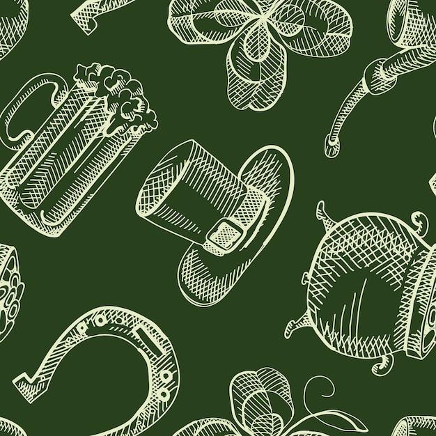 Nahtloses muster des vintage saint patricks day mit handgezeichneten traditionellen elementen Kostenlosen Vektoren