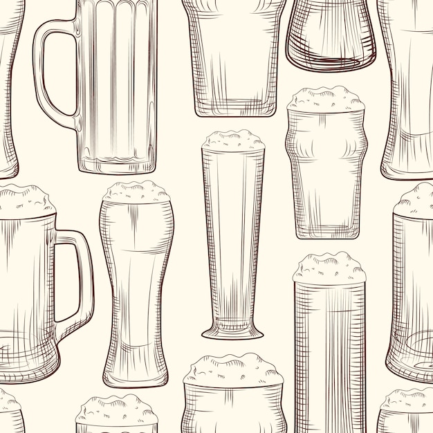 Nahtloses muster des vollen bierkrugs. Premium Vektoren