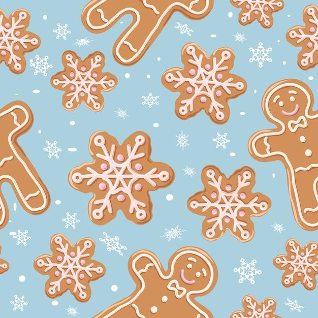 Nahtloses muster des weihnachtslebkuchens Premium Vektoren