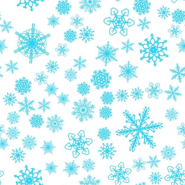 Nahtloses muster des weihnachtsschnees mit schönen schneeflocken Premium Vektoren