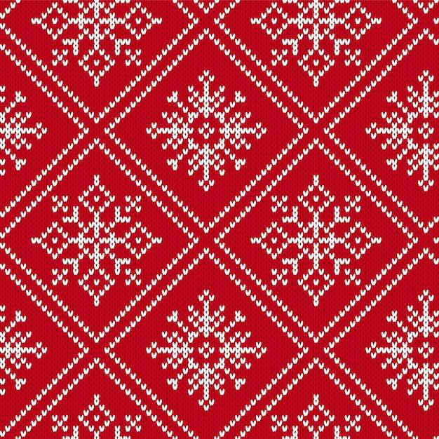 Nahtloses muster des weihnachtsstrickens mit schneeflocken Premium Vektoren
