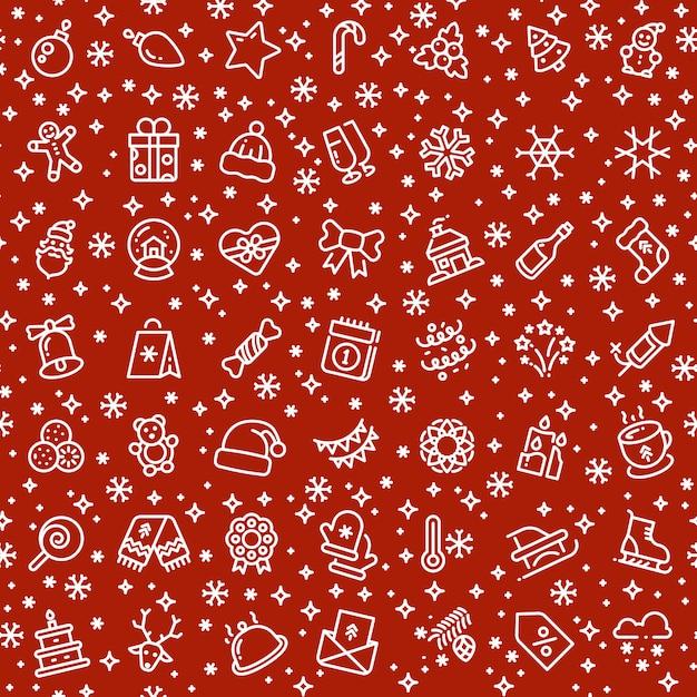 Nahtloses muster des weihnachtsvektors mit weihnachtsfeiertags-gliederungsikonen Premium Vektoren