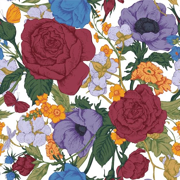 Nahtloses muster des weinleseblumenvektors mit rosen Premium Vektoren
