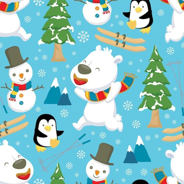 Nahtloses muster des winterthema-cartoons mit eisbär und pinguin Premium Vektoren
