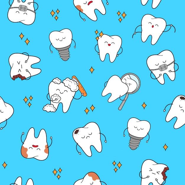 Nahtloses muster des zahnes mit den zähnen der fröhlichen charaktere. Premium Vektoren