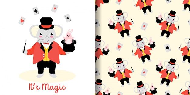 Nahtloses muster des zaubererelefanten mit illustrationskarikatur-babypartykarte Premium Vektoren
