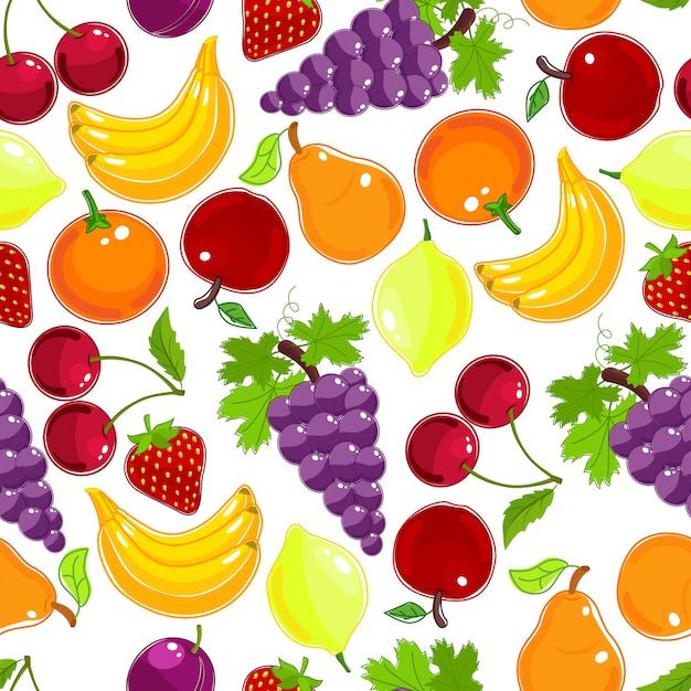 Nahtloses muster frischer früchte und beeren in den farben des regenbogens mit trauben Kostenlosen Vektoren