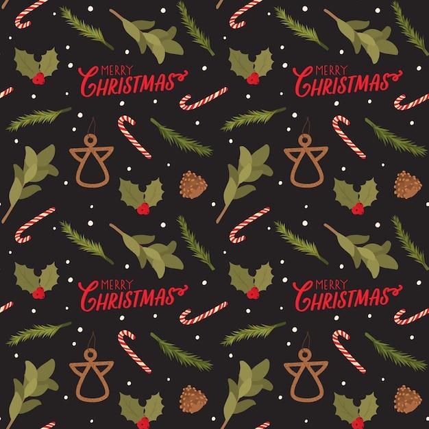 Nahtloses muster für weihnachten mit feiertagsbeschriftung und traditionellen elementen. skandinavischer stil Premium Vektoren
