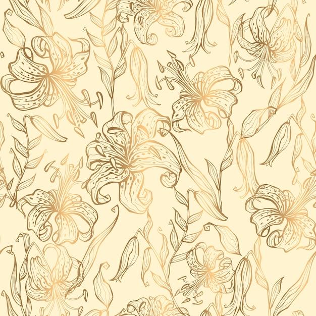 Nahtloses muster goldlilien auf einem vanillehintergrund. vektor. Premium Vektoren