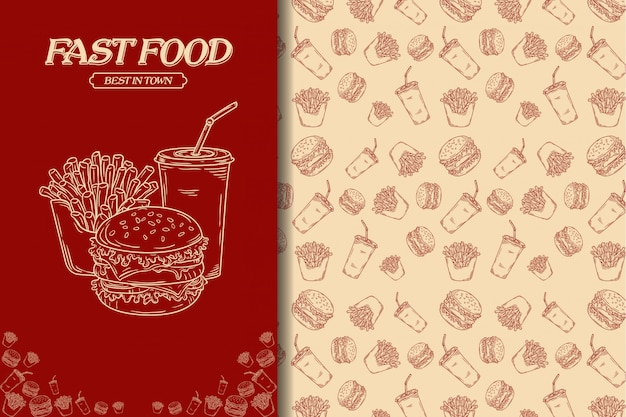Nahtloses muster junkfood Premium Vektoren