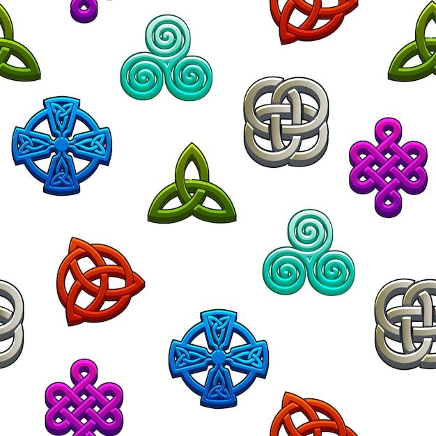 Nahtloses muster keltische symbole. stellen sie keltische symbole auf weißem hintergrund ein. Premium Vektoren
