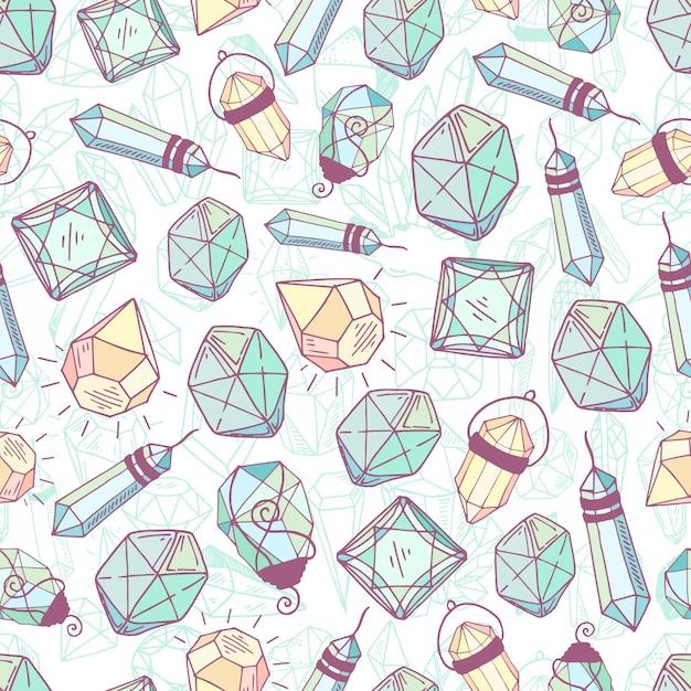 Nahtloses muster - kristalle oder edelsteine, endlose beschaffenheit mit edelsteinen, diamanten, hand gezeichnet Premium Vektoren