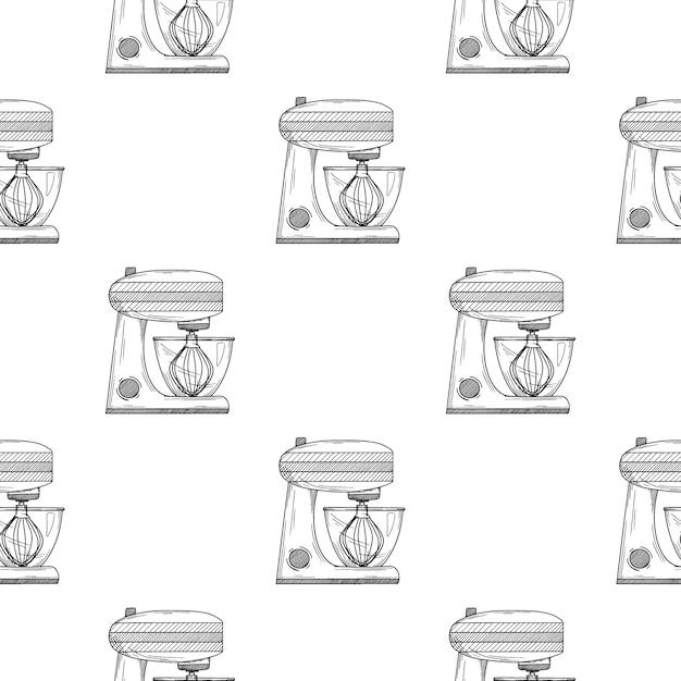 Nahtloses muster. küchenmaschine auf weißem hintergrund. illustrationen im skizzenstil Premium Vektoren