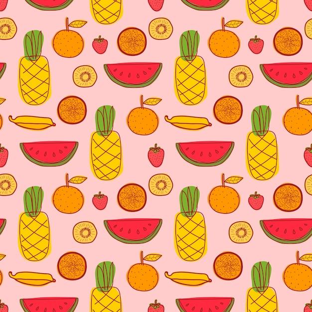 Nahtloses muster mit ananas-, orangen-, wassermelonen-, kiwi- und sommerfrüchten. Premium Vektoren