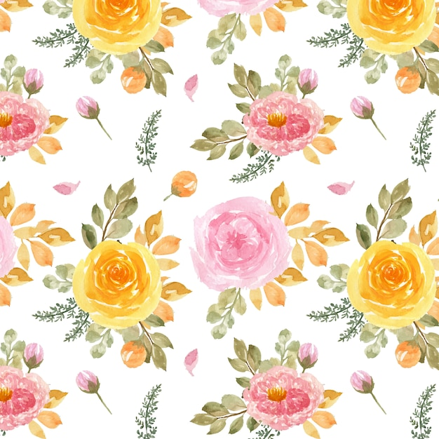 Nahtloses muster mit aquarell rosa und gelben rosen Premium Vektoren