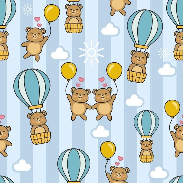 Nahtloses muster mit bären in einem heißluftballon Premium Vektoren